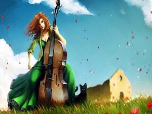 Postal: Mujer que toca el violonchelo