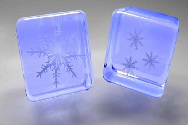 Copos de nieve en cubos