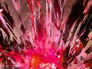 Postal: Explosión de cristales rosa