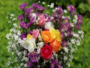 Postal: Rosas con flores silvestres