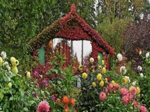 Postal: Casa cubierta de hojas y rodeada de flores y árboles