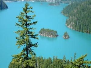Postal: Pequeñas islas en un lago
