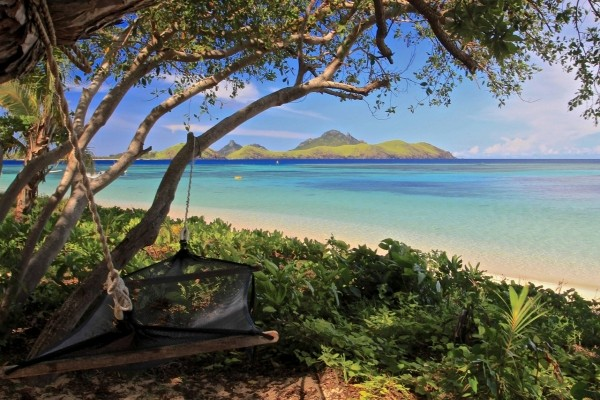 Hamaca colgada de un árbol en una playa