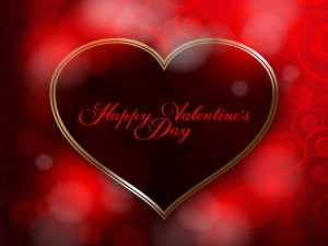 Postal: Feliz Día de San Valentín escrito en un corazón