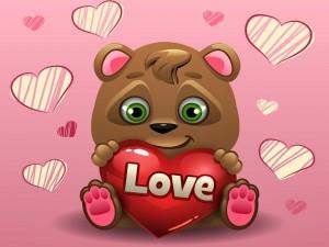 Postal: Osito con un corazón para el Día de San Valentín