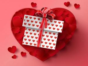 Postal: Regalo con corazones para el Día de San Valentín