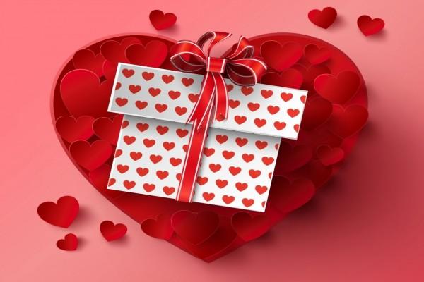 Regalo con corazones para el Día de San Valentín