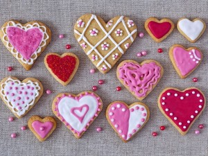 Corazones de galleta con glaseado