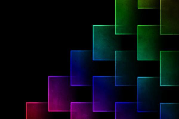 Coloridas figuras en fondo negro
