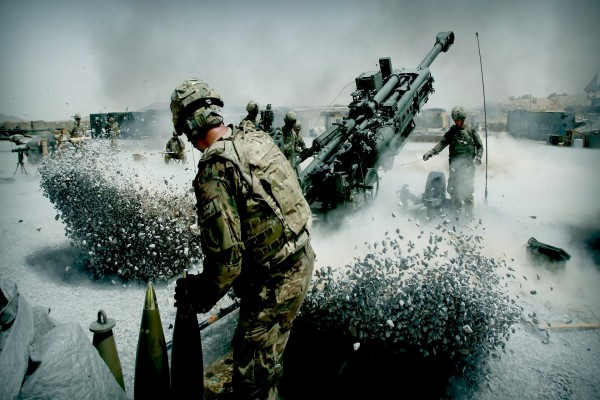 Explosiones entre los soldados