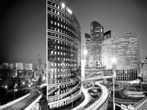 Edificios modernos y carreteras en una ciudad
