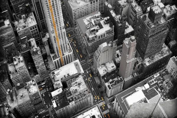 Taxis amarillos en una gran ciudad