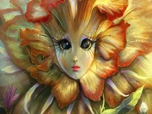 Postal: La muchacha del girasol