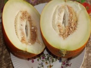 Exquisito melón cortado por la mitad
