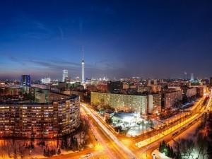 Postal: Carreteras iluminadas en Berlín