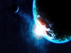 Salida del sol en el espacio