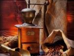 Molinillo y granos de café