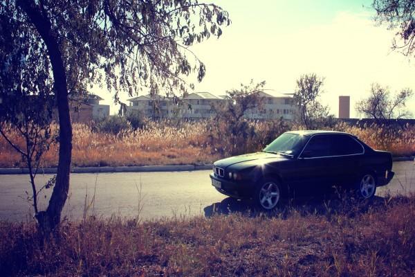 Sol brillando sobre un BMW