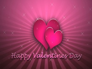 Postal: Corazones rosas y Feliz Día de San Valentín