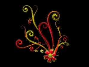 Postal: Flor con líneas de colores
