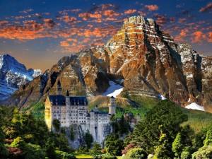 Postal: Vista del castillo de Neuschwanstein