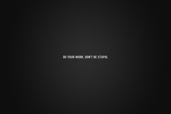 Haz tu trabajo. No seas estúpido (Do you work. Don't be stupid)