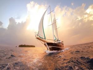 Postal: Hermoso barco navegando