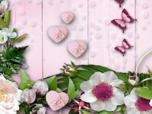 Postal: Fondo rosa con flores y mariposas