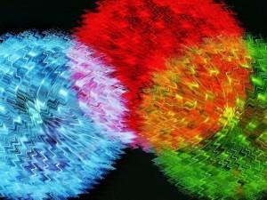 Postal: Círculos temblorosos de colores