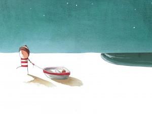 Postal: Tirando del bote