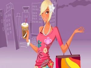 Chica moderna de compras