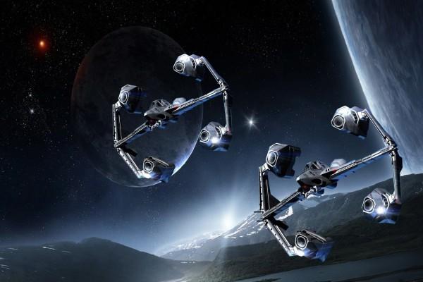 Naves espaciales volando sobre un lago