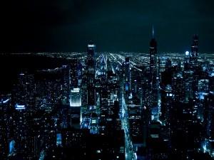 Postal: Oscura noche en la ciudad