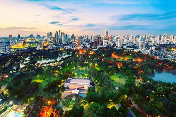 Vista de un gran parque junto a la ciudad