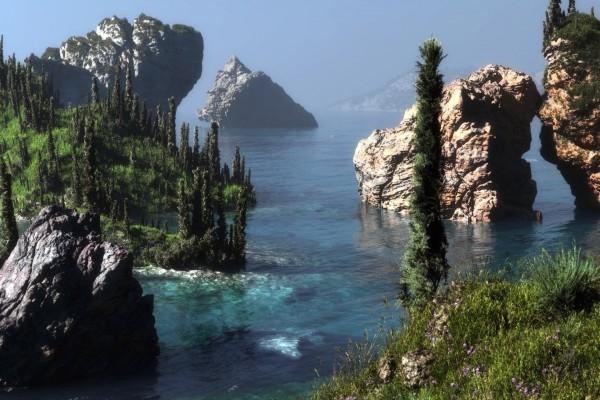 Acantilados y rocas en el mar