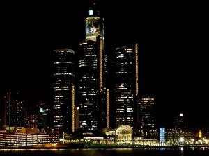 Postal: Rascacielos en la noche