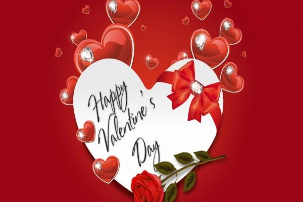Feliz Día de San Valentín entre corazones