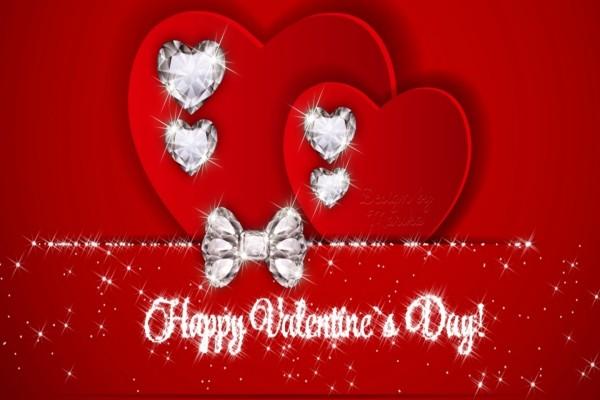 Corazones brillantes y Feliz Día de San Valentín