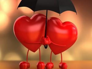 Corazones bajo un paraguas