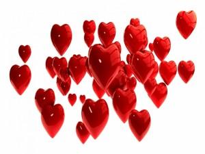 Postal: Varios tamaños de corazones