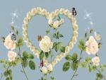 Mariposas revoloteando sobre un corazón de rosas blancas