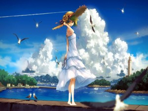 Postal: Chica anime junto al mar