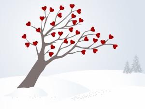 El árbol del amor sobreviviendo al frío invierno