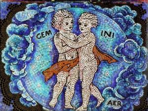 Postal: Mosaico de Géminis, elemento Aire