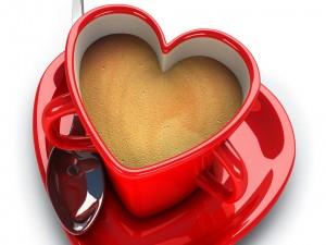 Postal: Taza corazón para desayunar en San Valentín