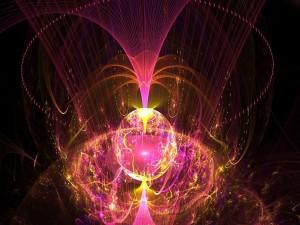 Postal: Esfera rodeada de luz y color