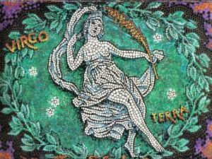 Postal: Mosaico de Virgo, elemento Tierra
