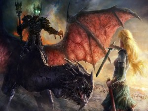 Dragón y un ser oscuro luchando con una guerrera