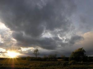 El sol brillando al amanecer