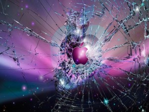 Postal: Vidrio roto con el logo de Apple